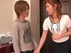 Asian Redhead In A Skirt And Blouse Sucks His Dick