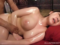 Massage Oil And Big Natural Japanese Tits Go Very Well Together